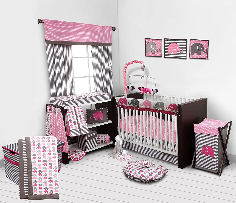 Bacati 10-Piece Elephants Nursery-in-A-Bag Crib Bedding Set with Long Rail