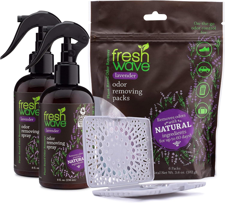 Fresh Wave Lavender Odor Removing Spray + Packs Bundle: (2) 8 fl. oz. Sprays + (1) Packs + Pod Combo
