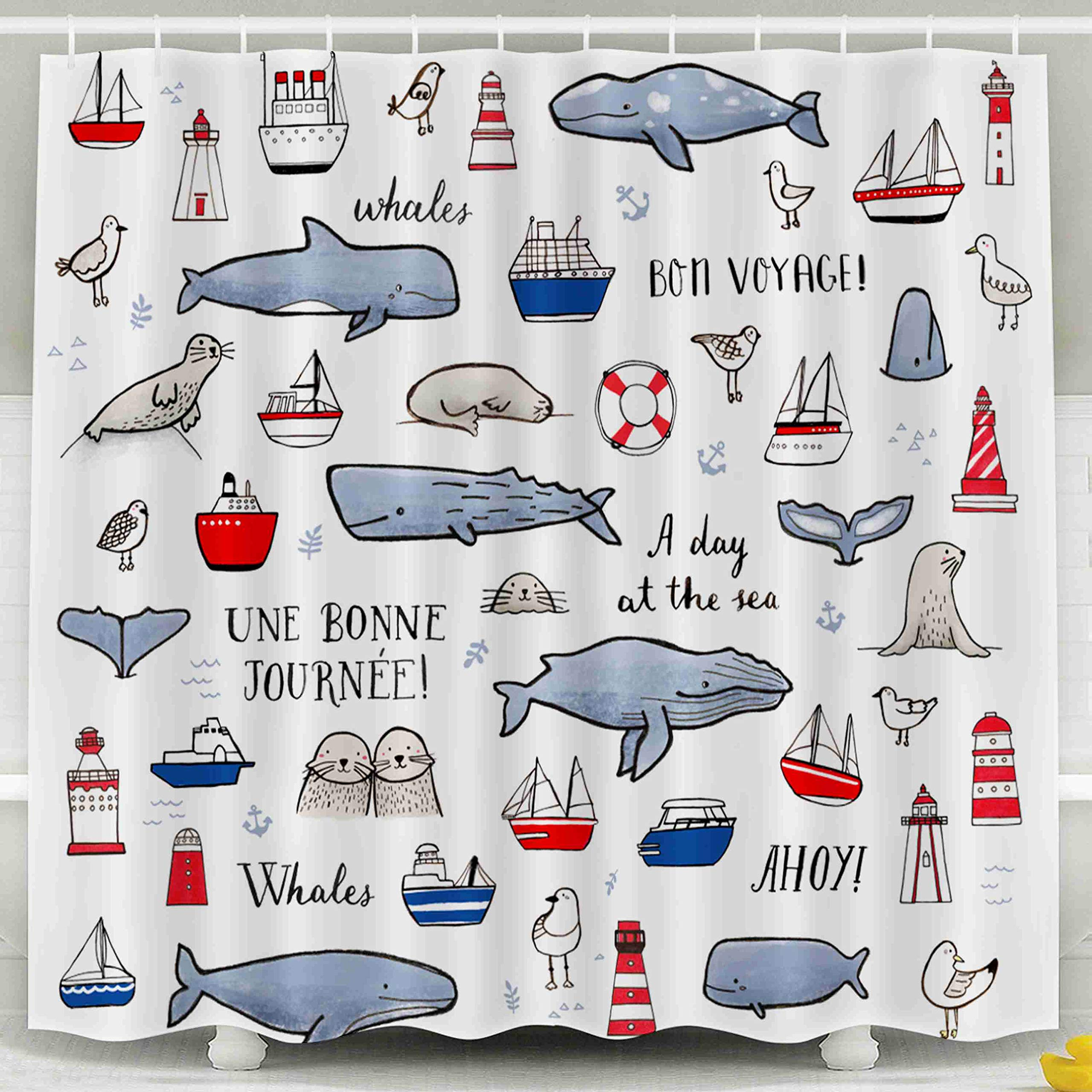 Jacrane Waterproof Fabric Bathroom Clear Shower Curtains Liner with Hooks Icons Boats Whales Lighthouses Suitable Greeting Card Surface 72X72Inch,Pink Green