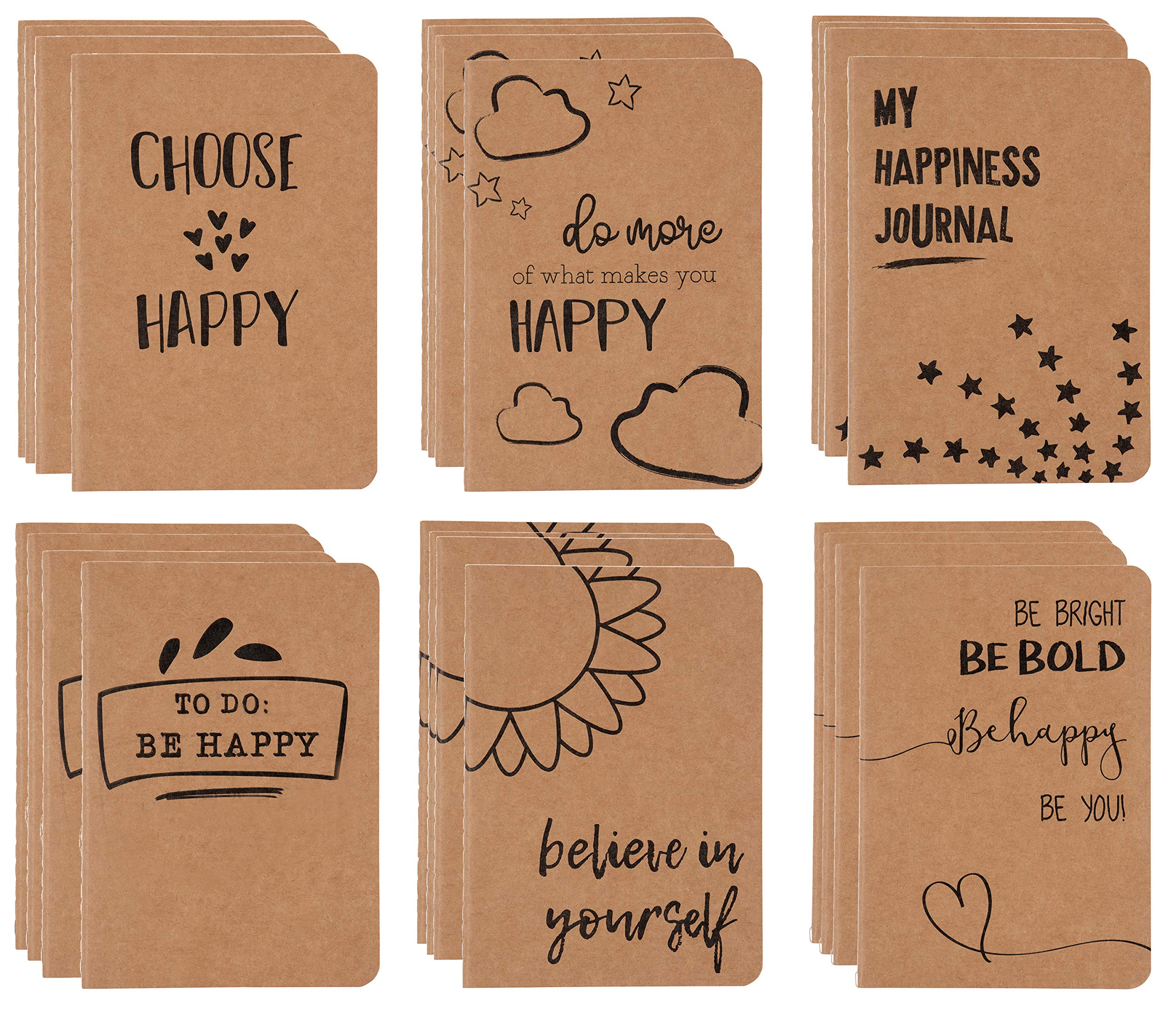 Kraft Notebook - 24-Pack Lined Notebook Journals, Pocket Journal for Travelers, Diary, Notes - 6 Assorted Happy Themed Designs, Soft Cover, 80 Pages, Brown, 4 x 5.7 Inches