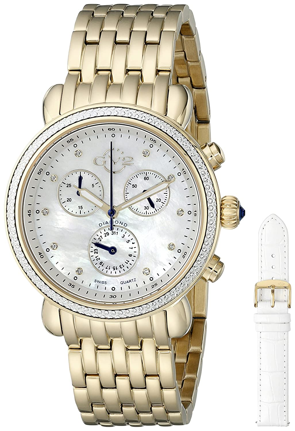 GV2 by Gevril Marsala Womens Diamond Chronograph Swiss Quartz With Additional Leather Strap Gold Tone Stainless Steel Bracelet Watch, Model 9802