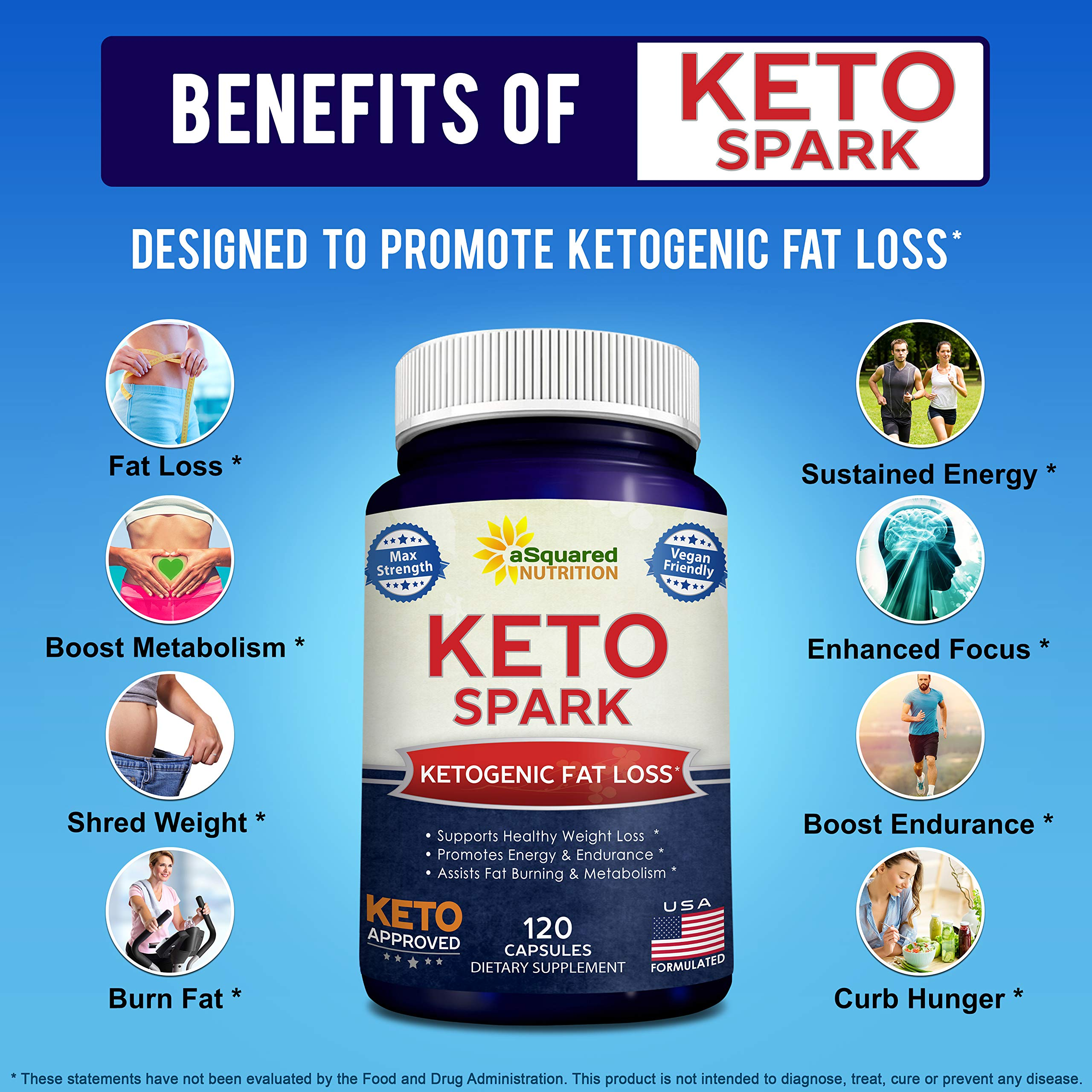 Keto Spark - Supplement for Weight Loss (120 Capsules) - Pills Approved for The Ketogenic & Paleo Diet - Helps Stay in Ketosis, Increase Energy & Focus - Caffeine & Ketones for Women & Men by aSquared Nutrition (Image #2)