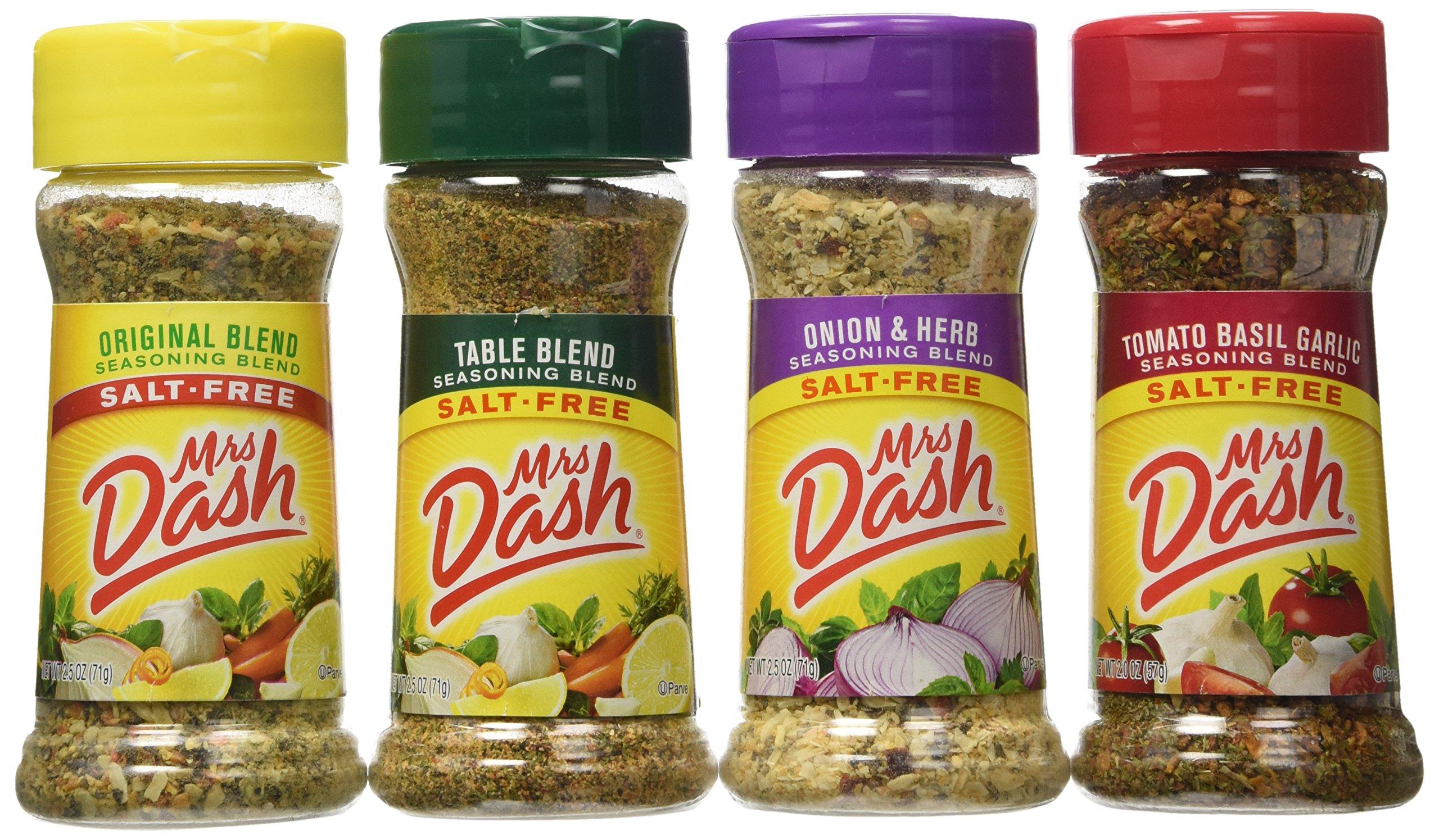 Mrs. Dash Seasoning Blends Variety Flavor 4 Pack 2.5 oz – Onion & Herb - Table Blend - Tomato Basil Garlic - Original Blend Set Bundle