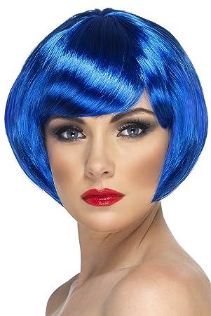 Smiffys Peluca de chica bonita, azul, corta, corte bob con flequillo