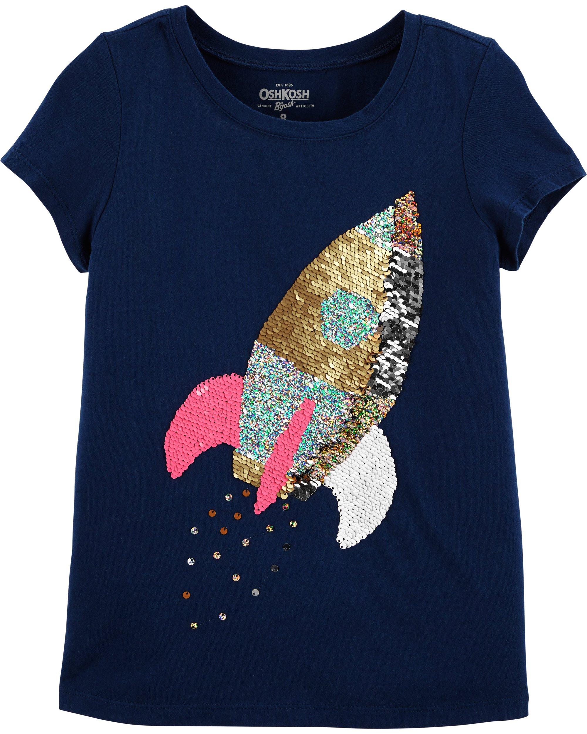 Osh Kosh Girls' Kids Sequin Tee, Navy Rocket, 7