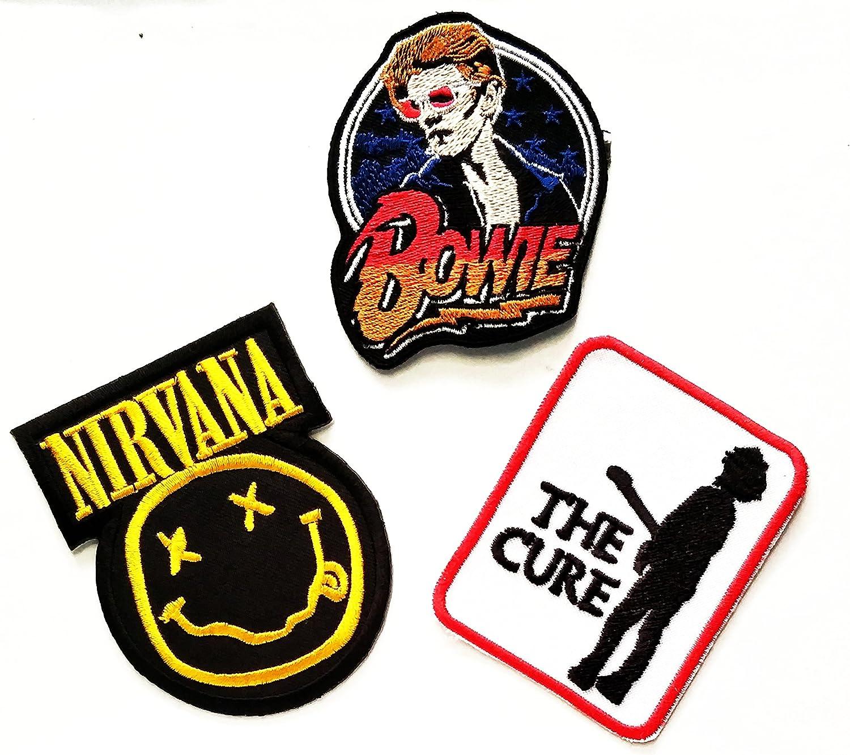 Música banda Set 3 pcs parche la cura David Bowie Nirvana Música ...