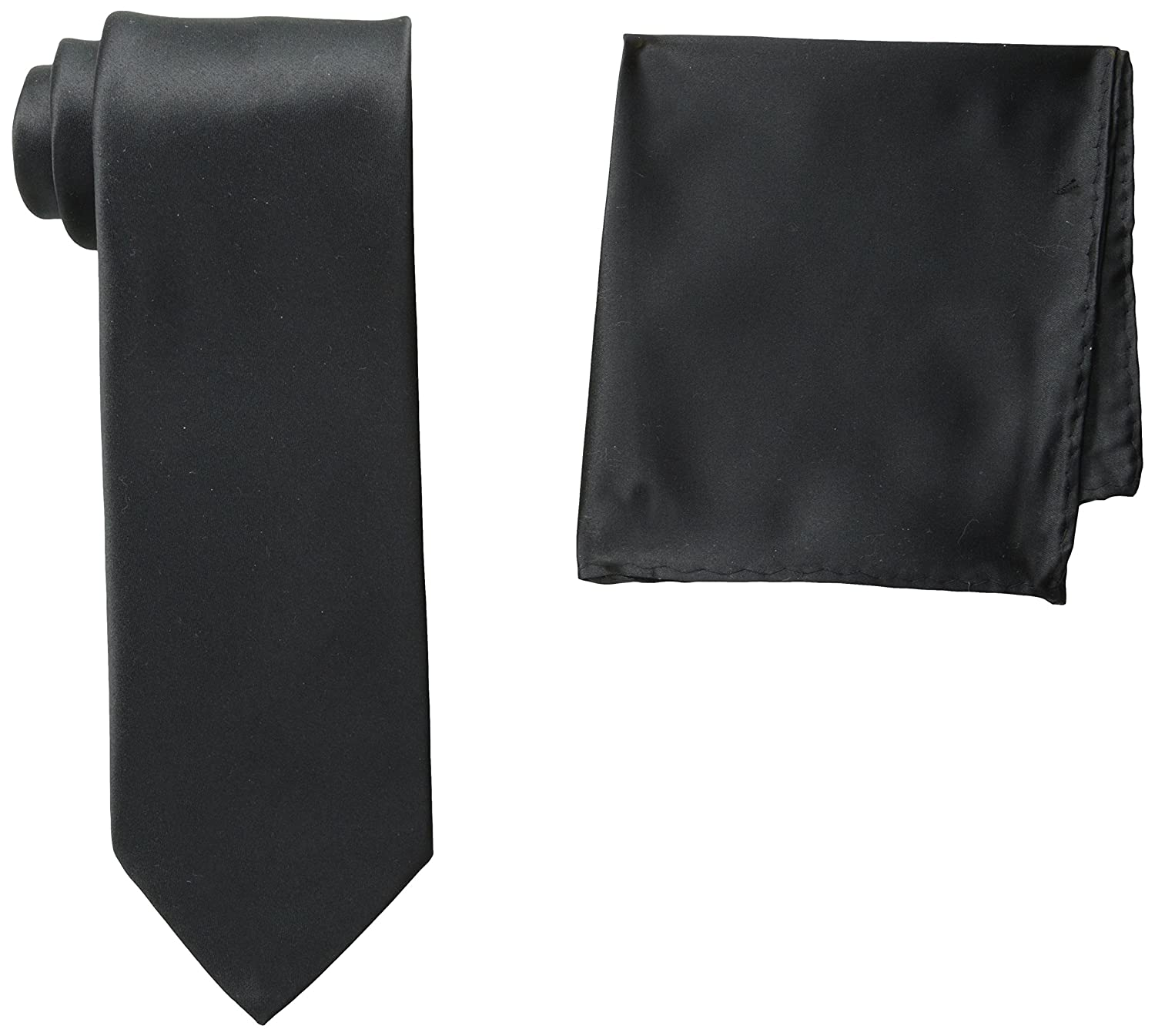 0c5f7503bbe0 Amazon.com: Stacy Adams Men's Satin Solid Tie Set, Black, One Size: Clothing