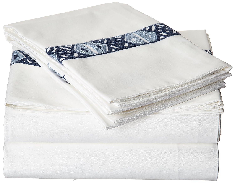 lux-bed 4 Piece Sarita Garden新しい100 %コットン300スレッドカウントAztec Kilim Inspired KingシートセットNavy フル ブルー LBSS0769-AN B01NBSXSJF フル|ホワイト ホワイト フル