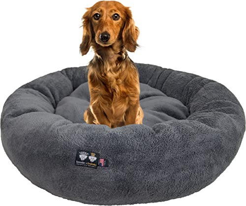 Ultra Plush Deluxe Comfort Pet Dog Cat Grey Snuggle Bed Multiple Sizes – Machine Washable, Made in the USA, Reversible, Durable Soft Fabrics