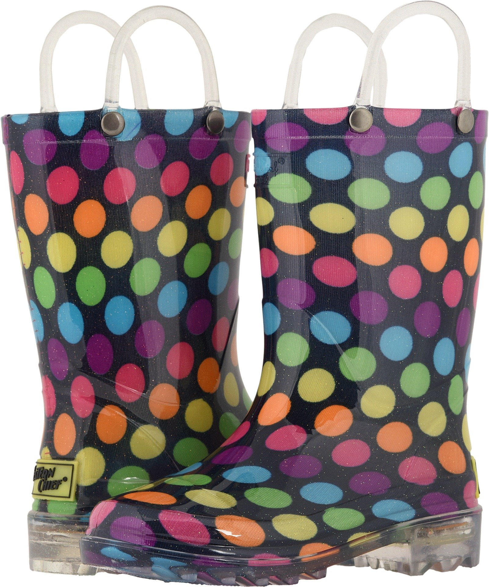 Western Chief Girls Waterproof Rain Boots that Light up with Each Step, Darling Dot, 9 M US Toddler