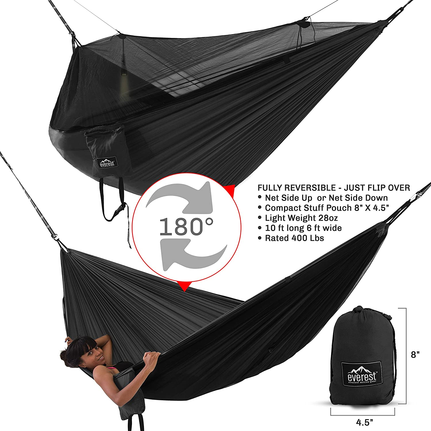 Everest Double Camping Hammock with Mosquito Net Bug-Free Camping, Backpacking Survival Outdoor Hammock Tent Reversible, Integrated, Lightweight, Ripstop Nylon