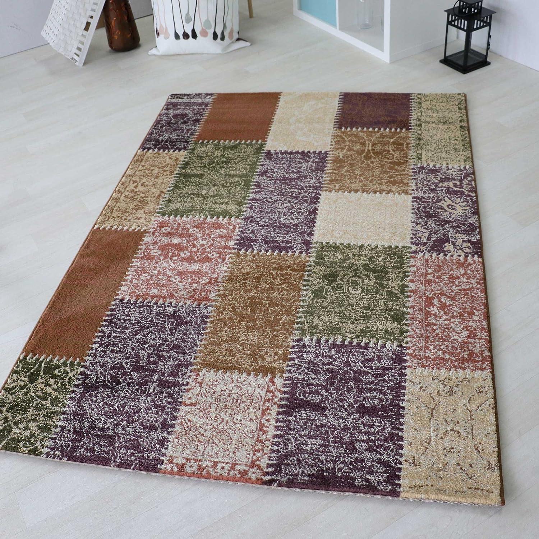 Kurzflor Teppich in Türkis, Rot und Bunt Groß mit Vintage Patchwork Design, hochwertige Webung geeignet für Wohnzimmer und andere Räumlichkeiten. Öko-Tex Zertifiziert [Maya] (160 x 230 cm, Bunt)