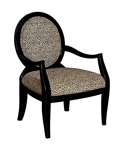 Powell Leopard Oval Back Accent Chair, 18 3/4 Inch