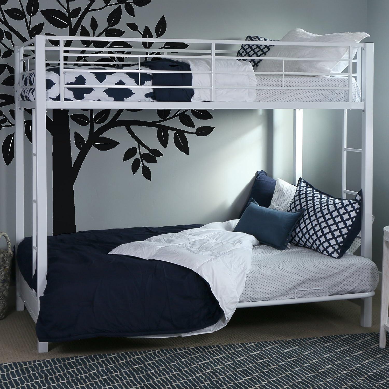 Amazon Com Walker Edison Elodie Urban Industrial Twin Over Futon Metal Bunk Bed Twin Size White Furniture Decor