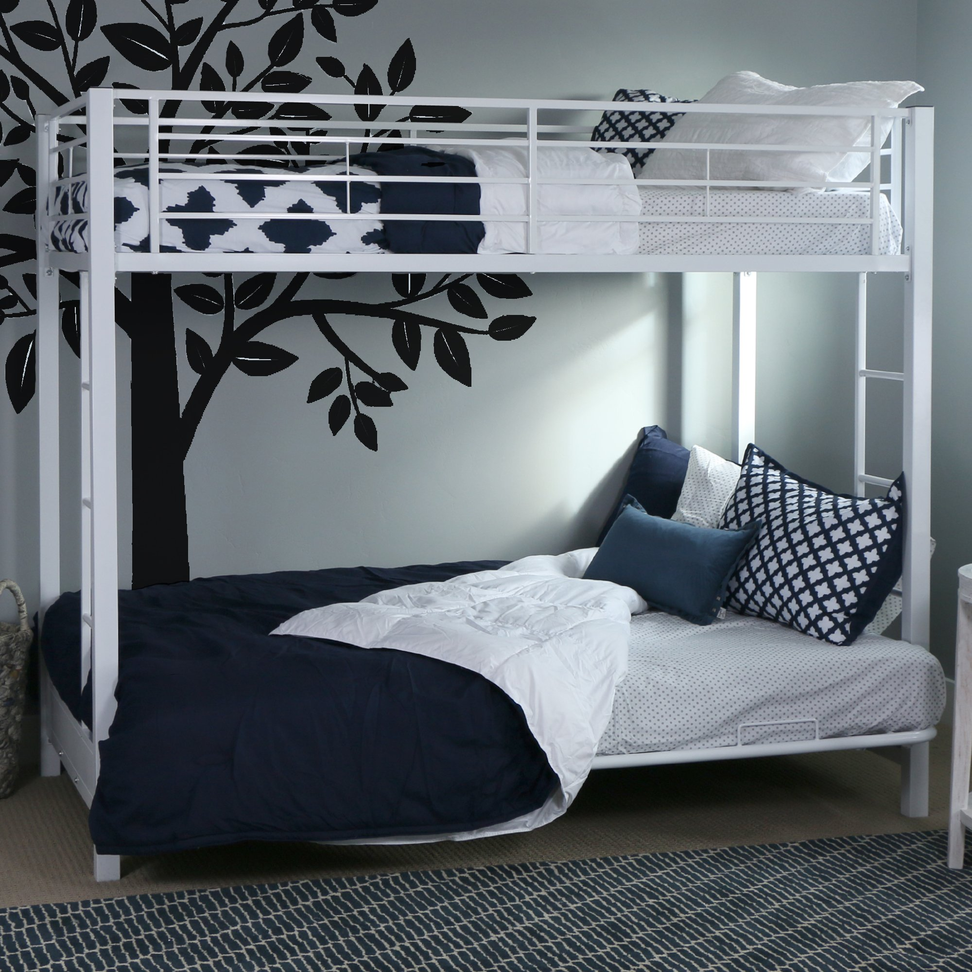 Walker Edison Twin-Over-Futon Metal Bunk Bed, White by Walker Edison Furniture Company
