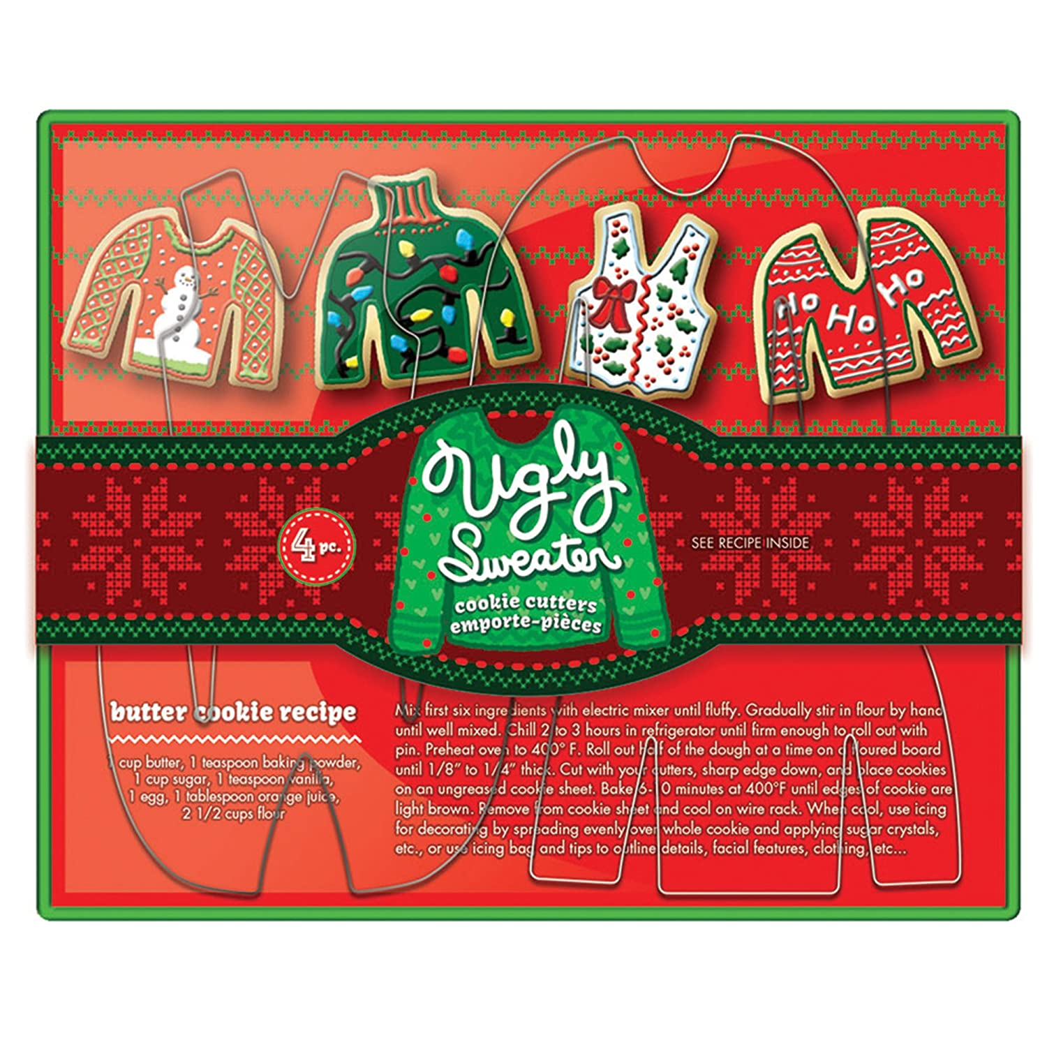Fox Run Brands Ugly Sweater Cookie Cutter Set, Metallic