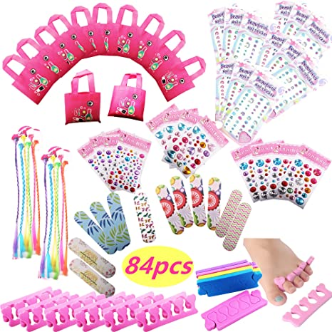Spa Party Favors for Girls Multiple Spa Party Supplies- (12 Tote Bags, 12  MINI Emery Boards,12 Colored Hair Clip Braids, 24 Toe Separators, 12 Body