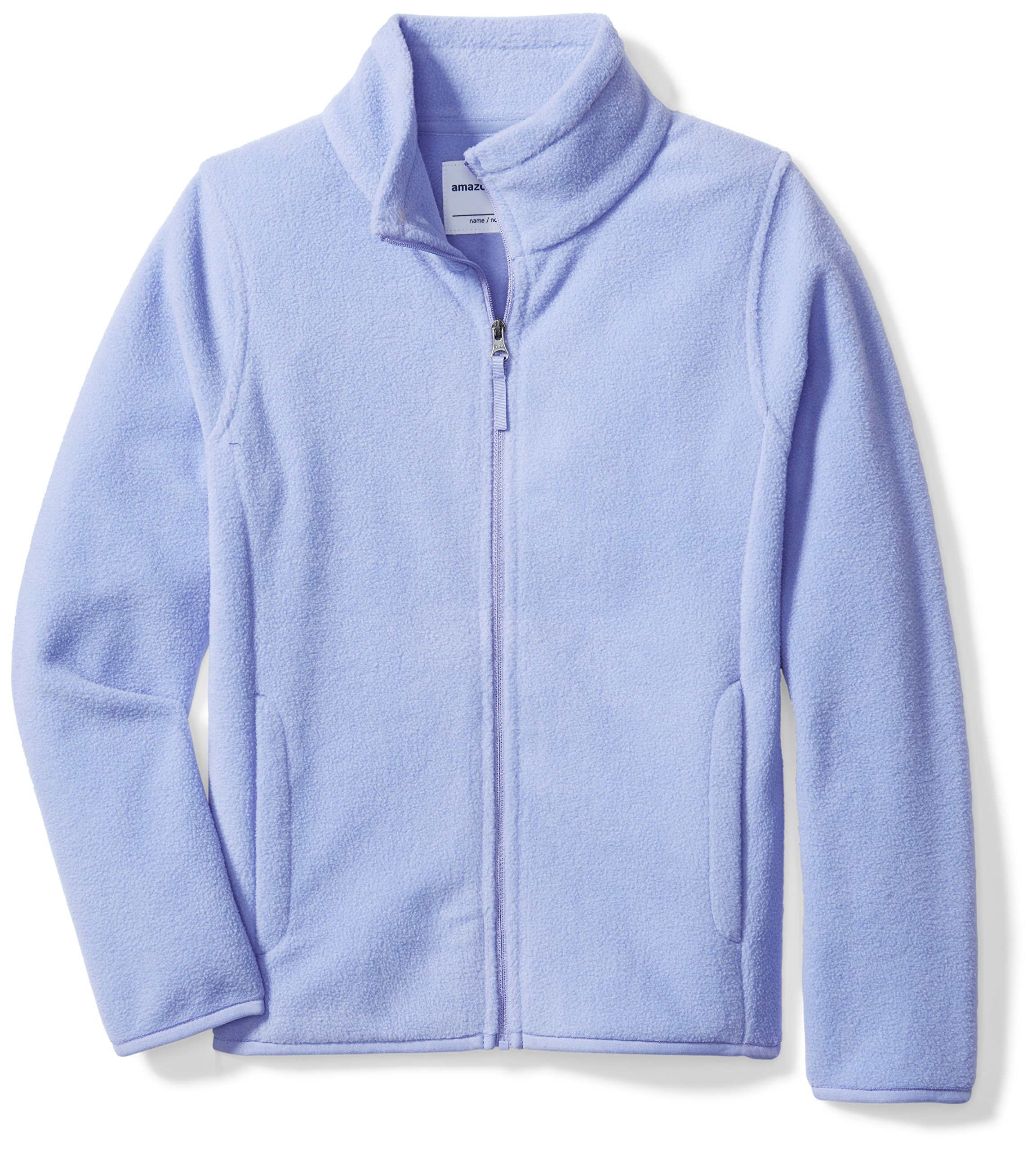 Amazon Essentials Girls' Full-Zip Polar Fleece Jacket, Periwinkle Purple, Small