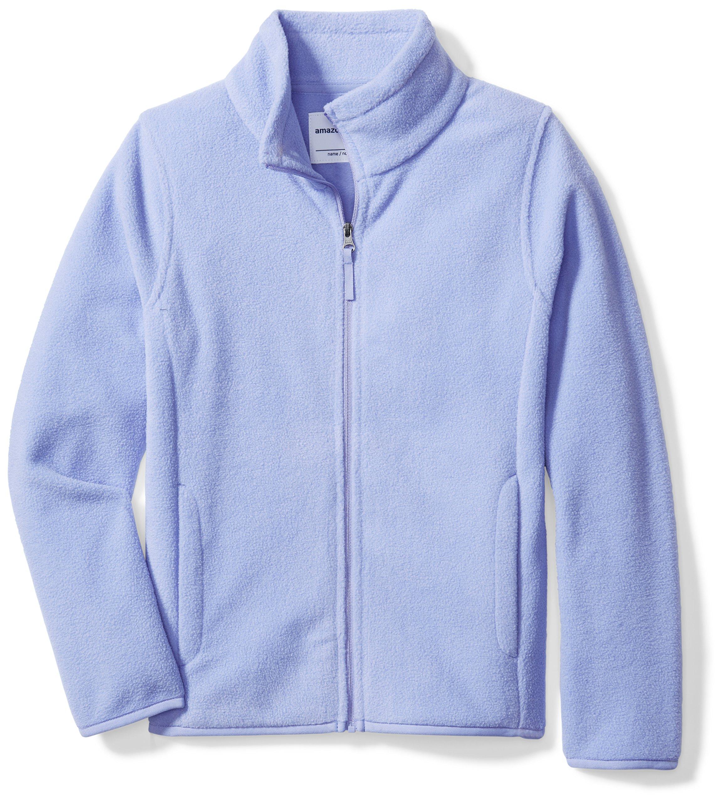 Amazon Essentials Girls' Full-Zip Polar Fleece Jacket, Periwinkle Purple, Medium
