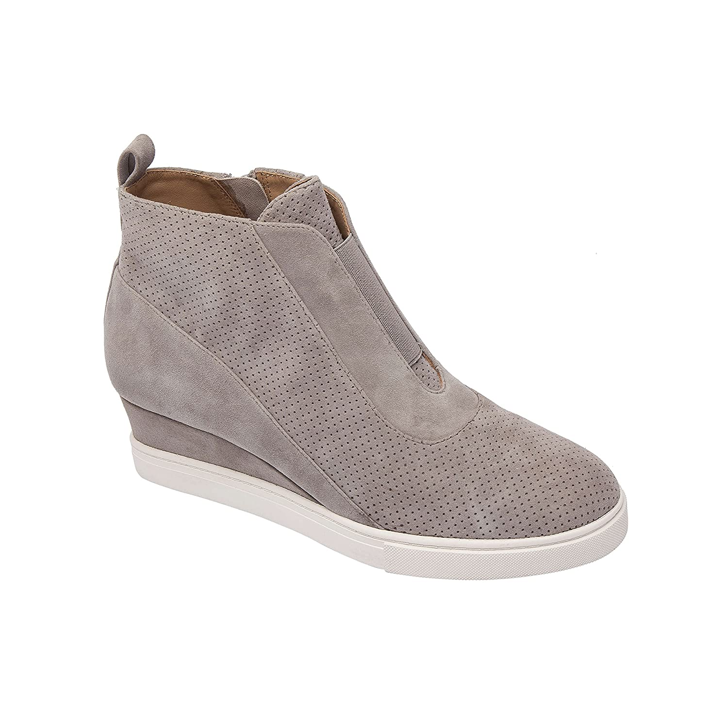 Linea Paolo Anna | Low Heel Designer Platform Wedge Sneaker Bootie Comfortable Fashion Ankle Boot (New Fall) B07F6RG9MF 5 M US|Rock Perforated Suede