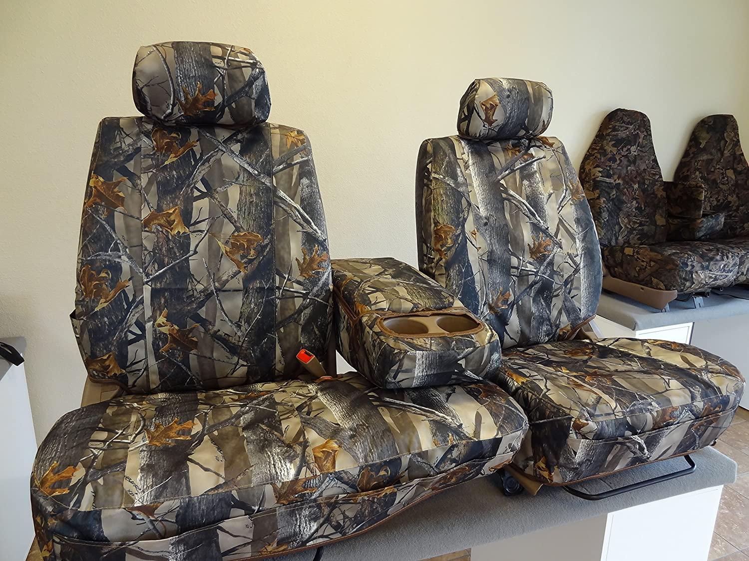 2000-2004 Toyota Tundra Seat Covers 40/60 Split Seat with Adjustable Headrest and Center Console in Camo Endura Durafit Seat Covers T787