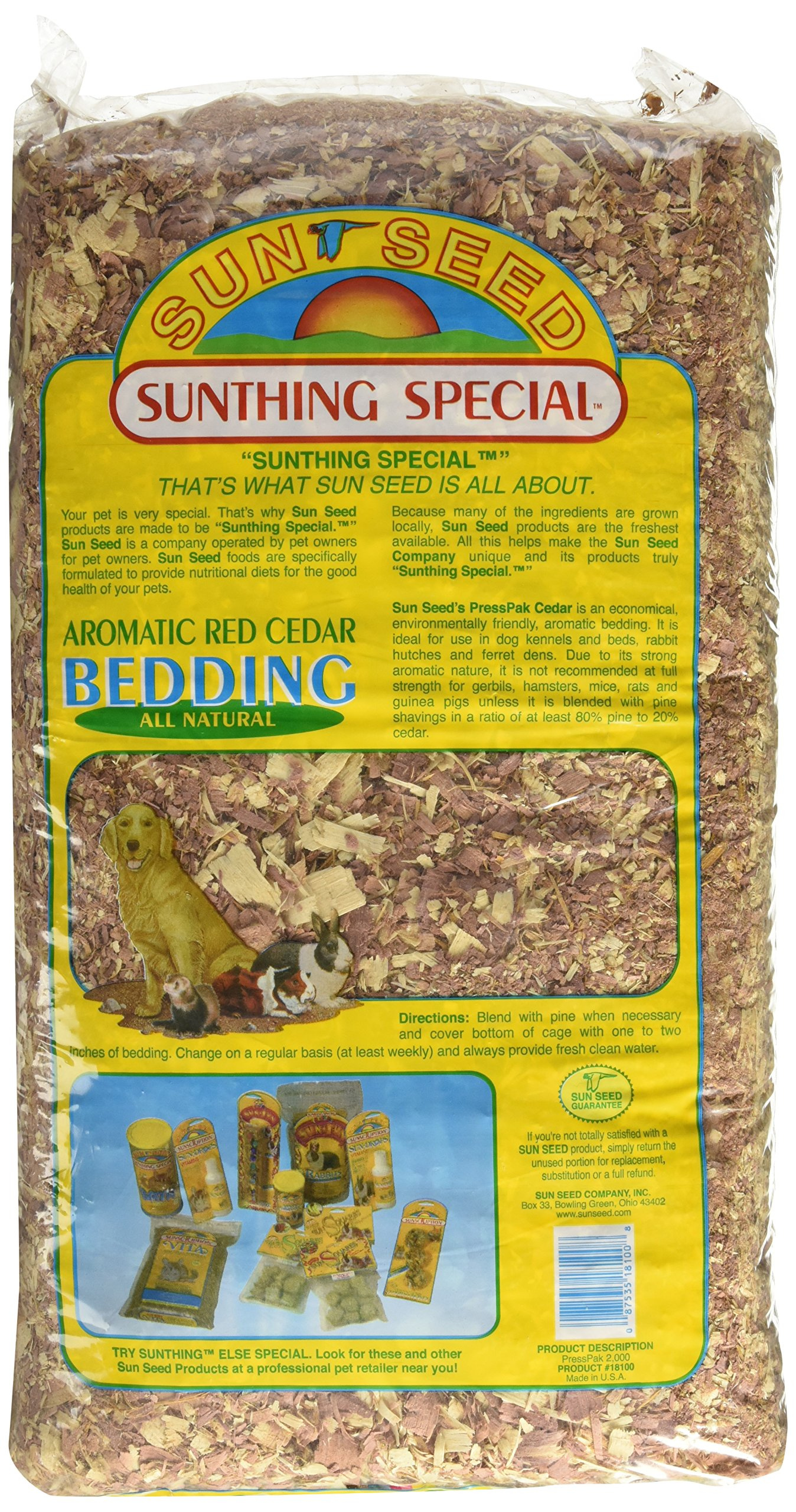 Sun Seed Company SSS18100 6-Pack Aromatic Red Cedar Press Pack Small Animal Bedding, 1200 Cubic Inch