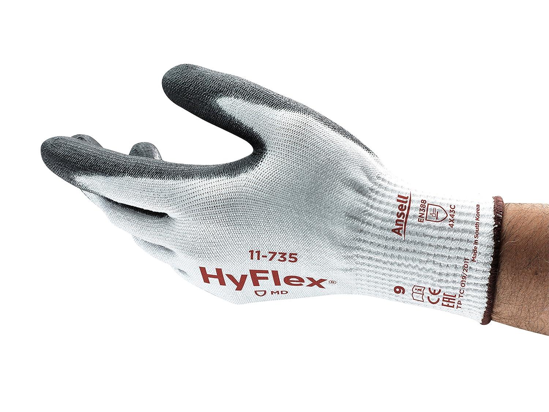 Ansell HyFlex 11-735 Schnittschutz-Handschuhe, Mechanikschutz, Weiß , Grö ß e 6 (12 Paar pro Beutel) Ansell HyFlex 11-735 / 6