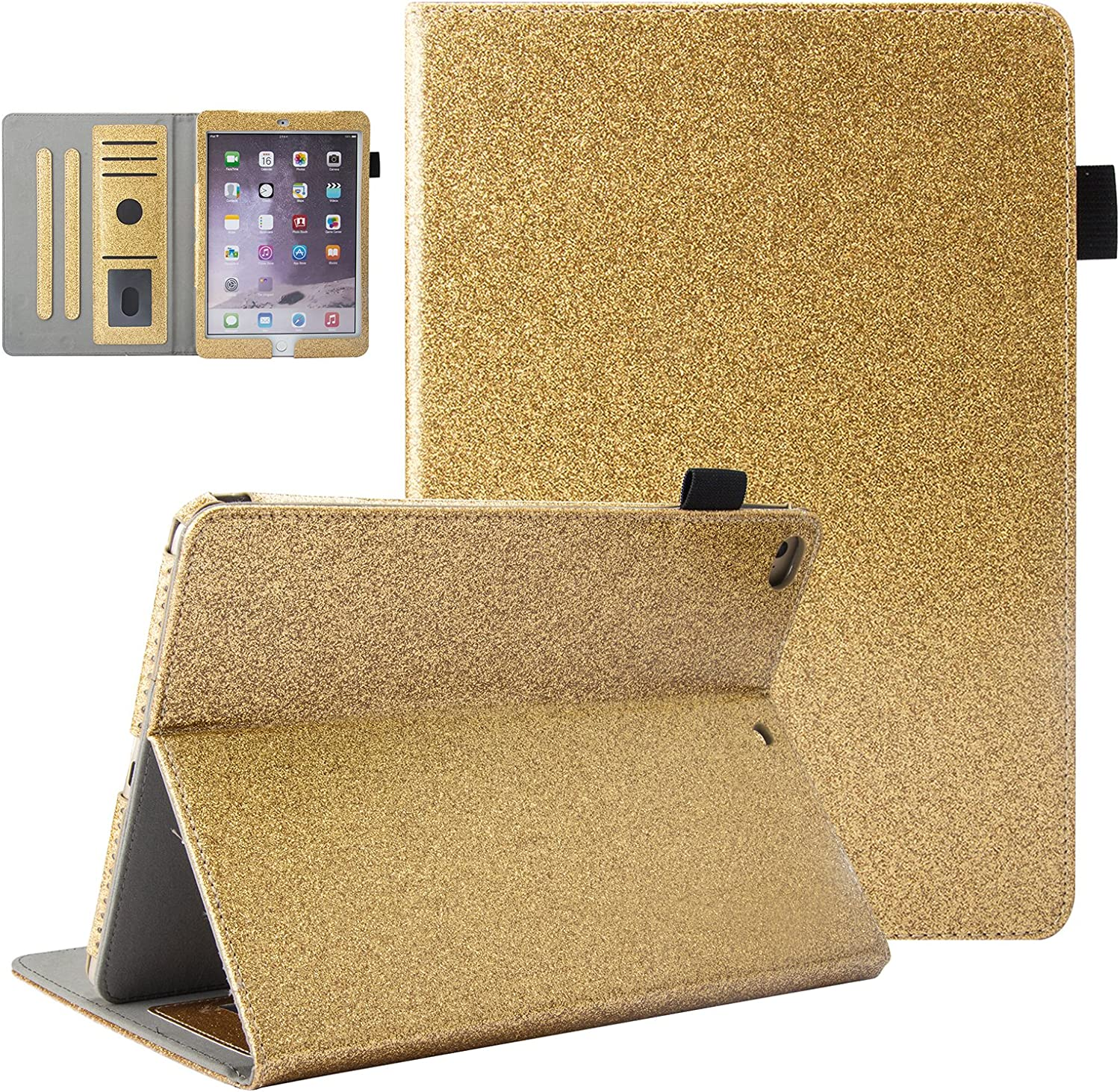 UUCOVERS iPad 9.7 2018 2017 Case iPad 6th/5th Gen, iPad Air 1/Air 2 Cover, Bling Glitter Stand Folio Wallet PU Leather Full Body Cover with Card Slots Stylus Pencil Holder [Auto Sleep/Wake], Gold