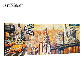 ArtKisser Vintage NYC Building Painting Paint New York Manhattan Skyline Canvas The Statue Of Liberty Chrysler