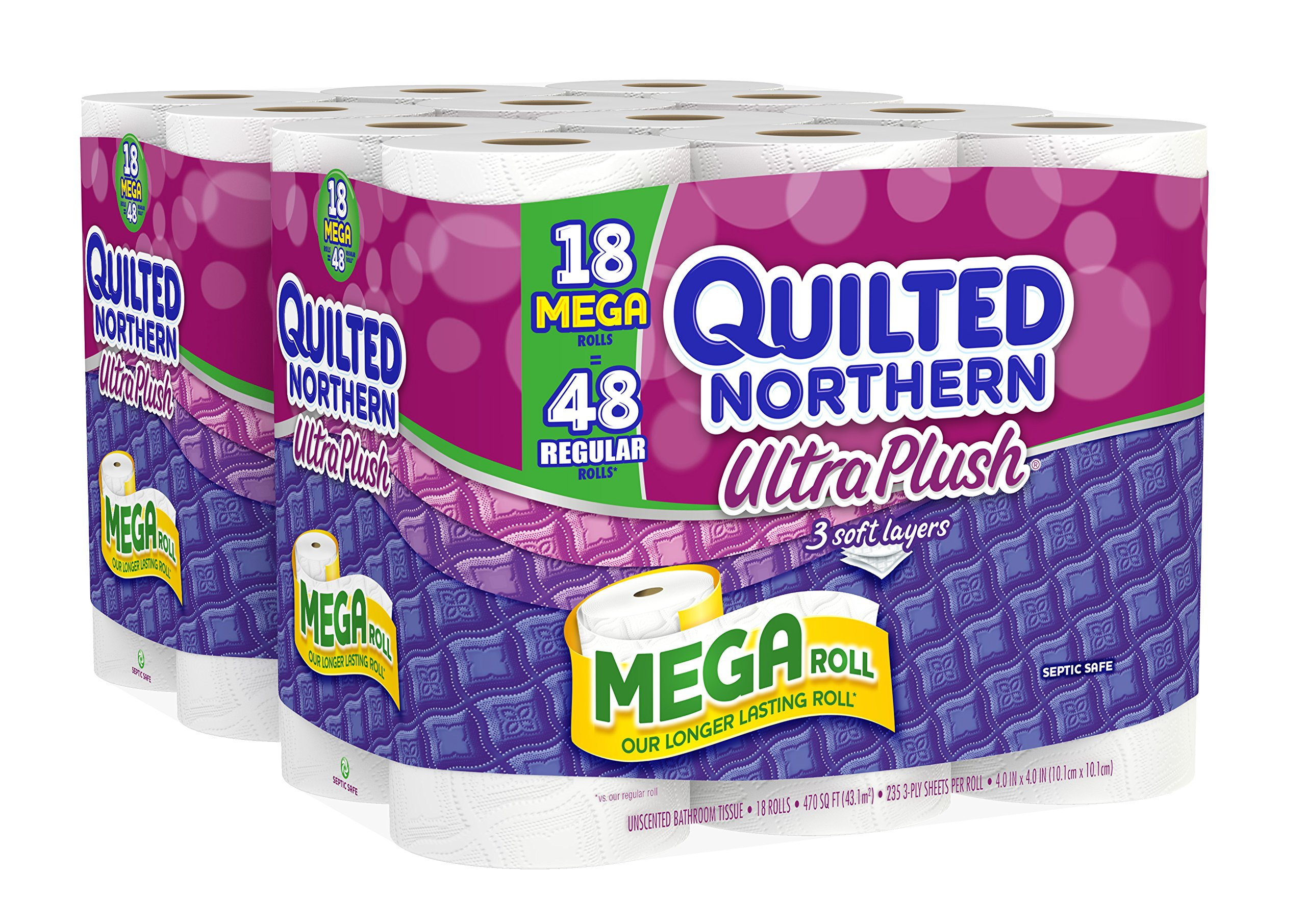 Quilted Northern Ultra Plush Bath Tissue, 18 Mega Rolls Toilet Paper, Pack of 2 (36 Mega Rolls) by Quilted Northern