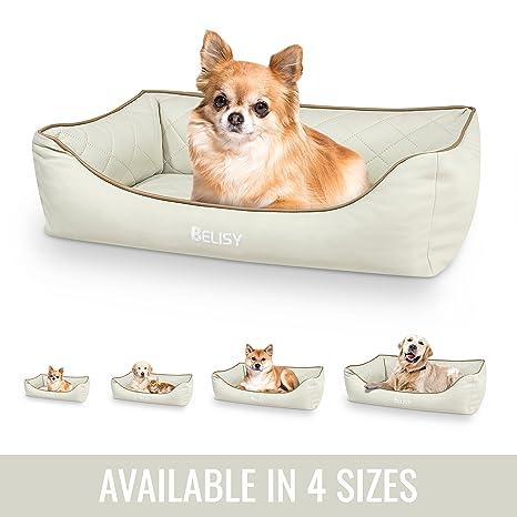 Cama ortopédica para perros Belisy Delta de cuero sintético I Cesta para perros en beis