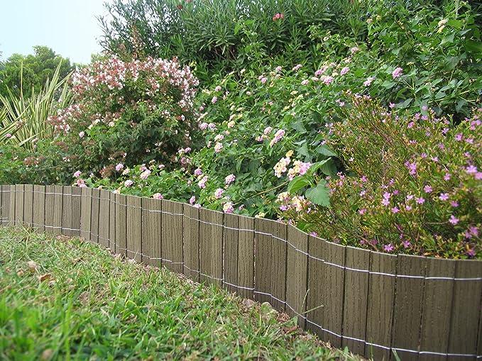 Mini valla/bordura en madera composite 2, 50 m x20 cm. Color verde natural. B Cottage: Amazon.es: Jardín