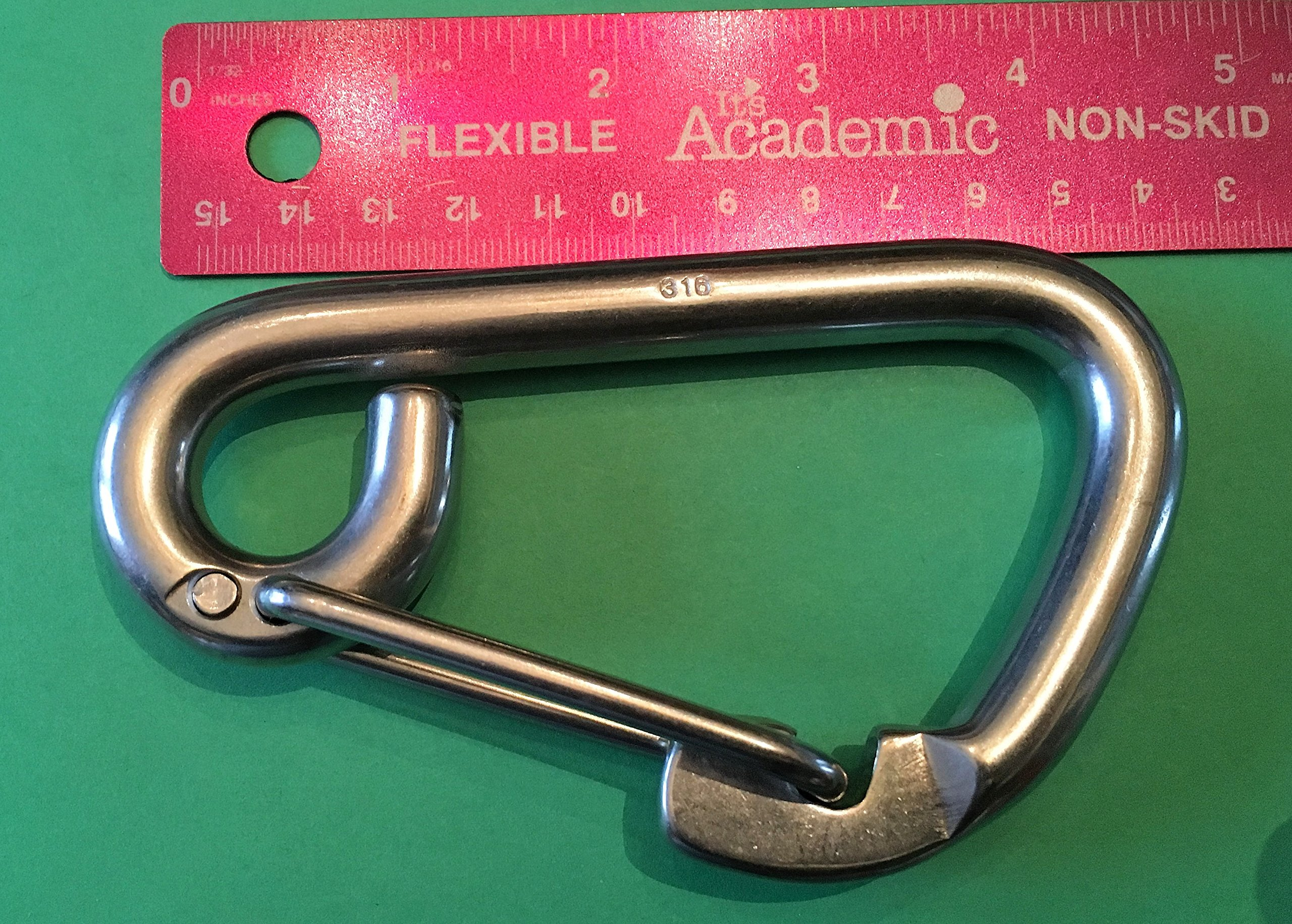 Stainless Steel 316 Spring Hook Carabiner 1/2'' (12mm) Marine Grade Safety Clip by US Stainless (Image #2)