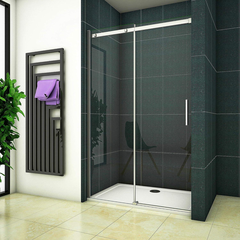120 cm ducha Mampara nichos para puerta corredera 6 mm transparente cristal ducha pared: Amazon.es: Bricolaje y herramientas