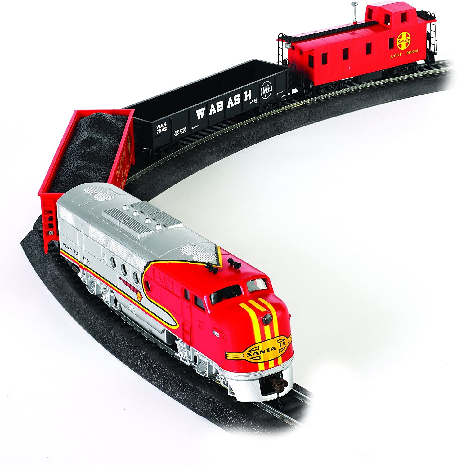 B0006KQGJ8 Bachmann Trains - Santa Fe Flyer Ready To Run Electric Train Set - HO Scale 91MxSLaf1cL.SL1500_