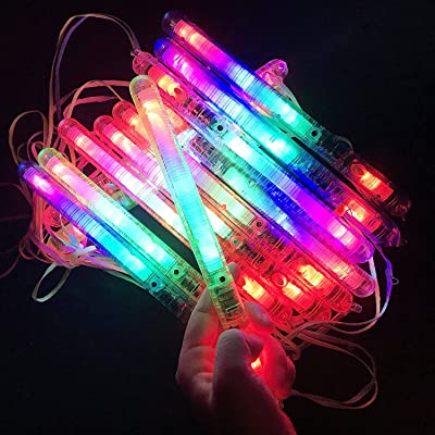 M.best 12 Pieces Flashing 7 Modes Plastic LED Light Up Glow Wands Sticks Toys Party Favors Supplies--Multicolors