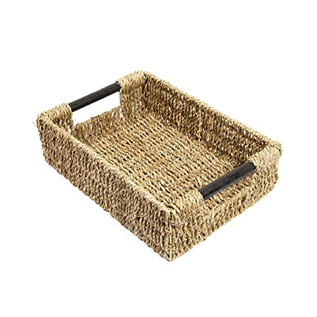 Woodluv Seagrass Storage Basket Box With Lid Xlarge by EliteHousewares sfYvbt2Fjj