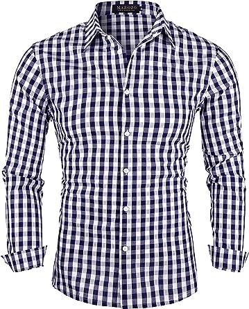 MAROJO Camisa de Manga Larga para Hombre, Corte Ajustado, de algodón, Estilo Business, Informal, de Cuadros, para el Tiempo Libre, para Traje Tradicional: Amazon.es: Ropa y accesorios