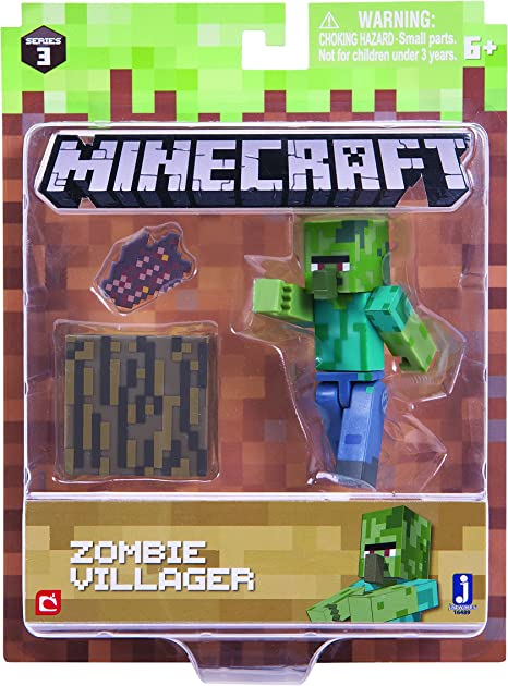 Minecraft 16489 - Figura de acción de 3 Pulgadas, Paquete Zombie Villiager: Amazon.es: Juguetes y juegos