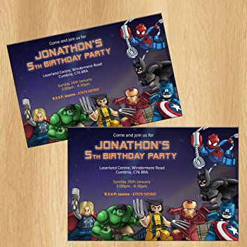 Lego Superhero Party Invitations Personalised Birthday Invites Amazoncouk Office Products