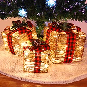 Juegoal Christmas Lighted Rattan Gift Boxes Decorations, Pre-lit 60 LED Light Up Christmas Tree Skirt Ornament Indoor Holiday Party Christmas Home Yard Art, Set of 3 (Max. Size 10 x 10 x11.8 Inch)