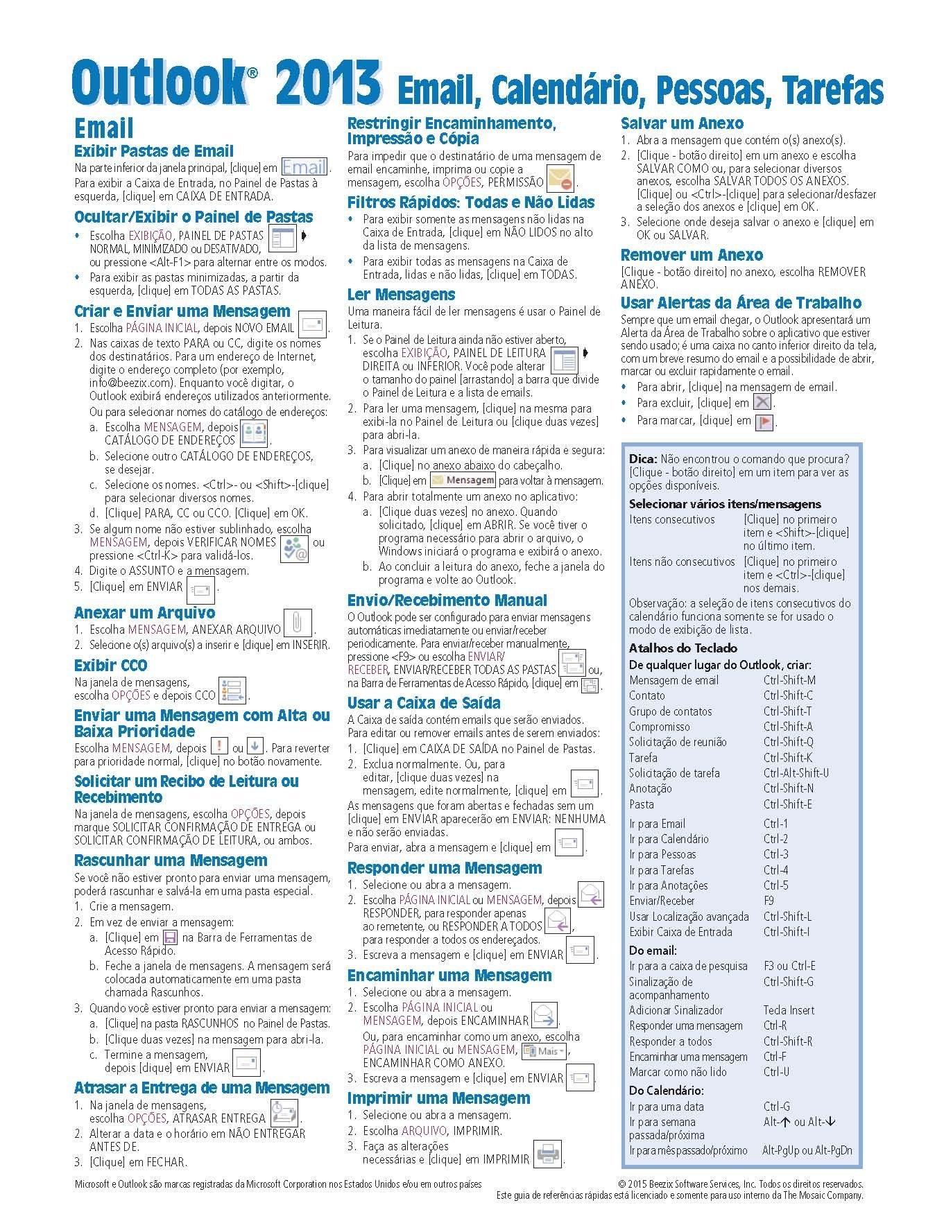 Calendario Outlook.Microsoft Outlook 2013 Referencia Rapida De E Mail