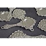 ビーズクラブ アクセサリーパーツ レジン ミール皿 手鏡 古代銀フレーム 63mm 1個