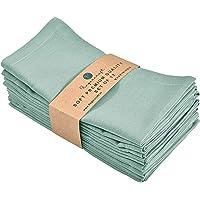 FINGERCRAFT - Servilletas de tela de mezcla de algodón y lino, 12 unidades, calidad premium, esquinas biseladas para uso…