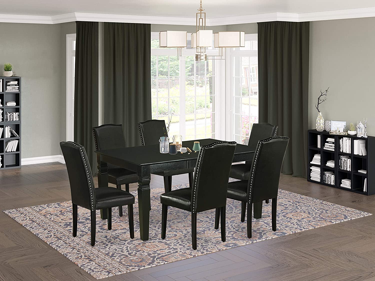 East West Furniture 7Pc Dinette Set Includes a Rectangular 42/60 Inch Dining Table with Butterfly Leaf and 6 Parson Chair Leg and PU Leather Color Black