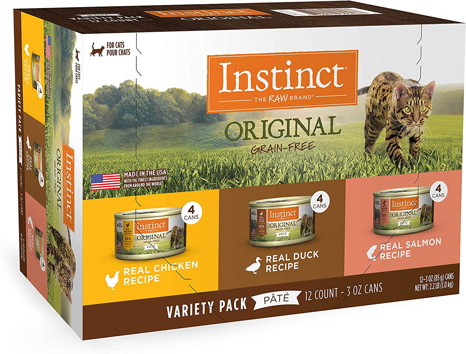 Instinct Original Grain Free Recipe Variety Pack Natural Wet Canned Cat Food by Nature's Variety, 3 oz. Cans (Pack of 12)