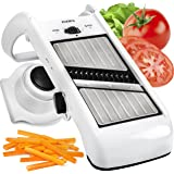 Adjustable Mandoline Slicer - Stainless Steel Vegetable Slicer & Mandoline Cutter - Folding Veggie Slicer Plus Julienne Slicer Dicer - Perfect Vegetable Cutter w/ Comfort Grip Hand Protector