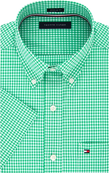 "aa723022 Tommy Hilfiger Men's Short Sleeve Button-Down Shirt, Cactus 14.5"" ..."