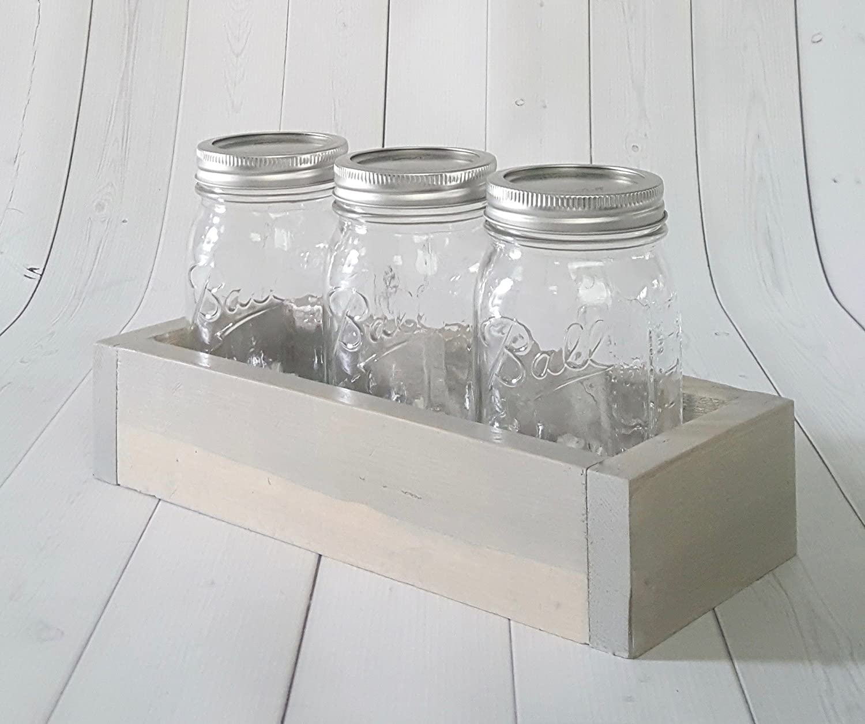 Amazon.com: Rustic Wood Box- - Mason Jar Caddy - Rustic Table ...