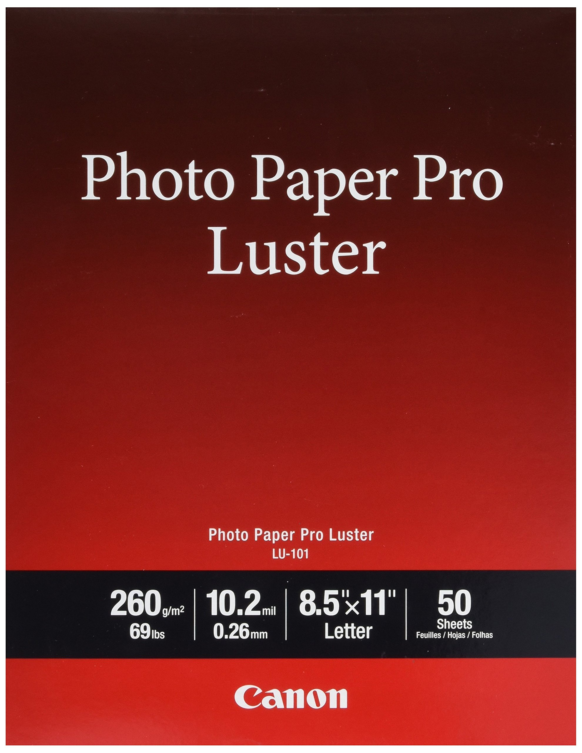Canon Pro Luster Inkjet Photo Paper, 8.5-Inch X 11-Inch, White, 50 Sheets/Pack by Canon (Image #1)
